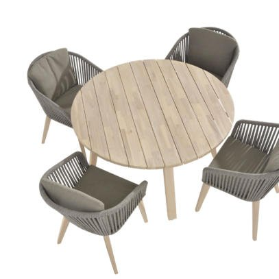 Santander Rope 4 Seat dining with 130cm round table