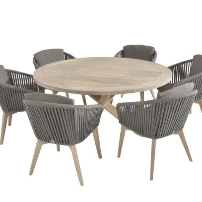 Santander Rope 6 Seat Dining set with 160cm Louvre Teak table