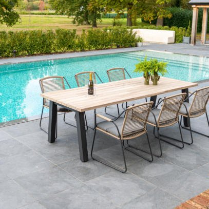 Scandic 6 Seat dining with 240cm Teak top table