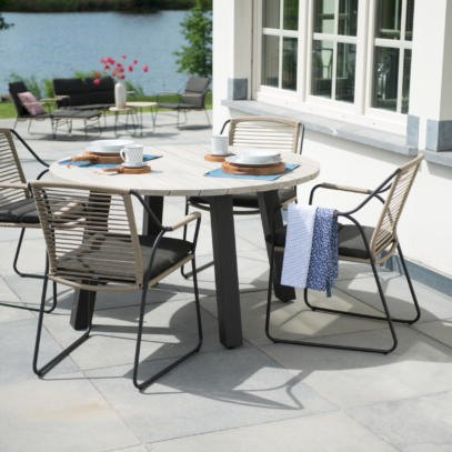 Scandic 4 Seat dining set with 130cm Derby Teak Top Table