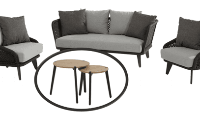 Belize Rope Lounge Set with 2 Gabor coffee tables