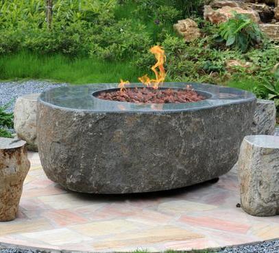 Large Granite Boulder Firepit