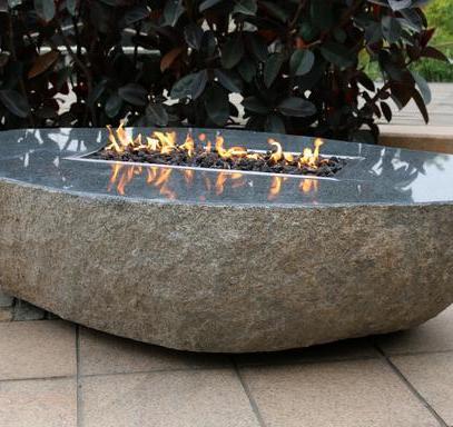Long Granite Boulder Firepit