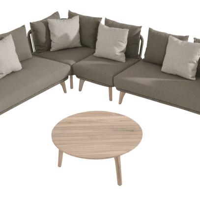 Santander Large Rope Corner Group with 90cm teak Coffee Table
